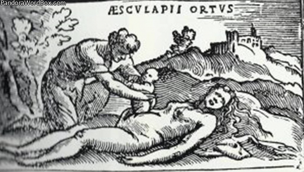 Grabado del nacimiento de Esculapio, Alessandro Beneditti, De Re Medica, 1549